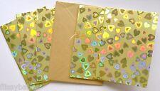5 Single Plegables Corazón Dorado Holográfico Tarjetas En Blanco con oro Sobres