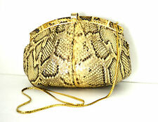 FINESSE LA MODEL  PYTON SNAKE SKIN  LEATHER  SHOULDER / CLUTCH HANDBAG