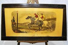 CHROMO LITHO le départ CHAMP de COURSE CHEVAL JOCKEY 20è  48x27cm