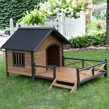 Lodge Dog House Weather Resistant Wood Large Outdoor Pet Shelter Cage Kennel NEW