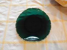 UNIQUE DEPRESSION ERA forest green glass serving plate PERFECT CHRISTMAS ex cond