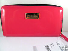 Steve Madden Bright Fushia Patent Leather Navy Blue Zip Around Wallet New