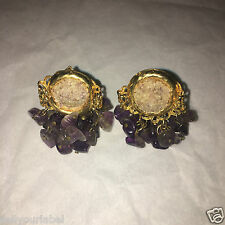 Raw Amethyst Cluster Clip Earrings Plated Gold Bargain Christmas Present