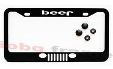 Beer Jeep Black license plate frame + Screw Caps