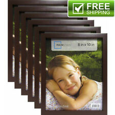 "Set of 6 Brown Picture Frames Home Decor Mainstays 8"" x 10"" Black Linear Frame"
