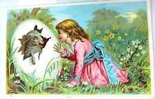 Victorian Trade Card*Easter/Spring*Lamb Hatching from Big Egg*Pretty Girl*Cute