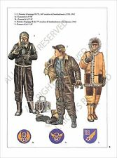 PLANCHE UNIFORMS PRINT WWII United States Air US Force Pilot Equipage B-17E  ETO