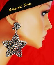 EAR CLIPS Earrings Vintage Lol Rhinestone and Pearls Orient Bollywood 8 cm Black