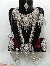 New Indian Bridal Bollywood Costume Jewellery Set Gold Tone Big Design Wear