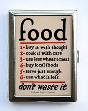World War 1 Poster Food Don't Waste It Cigarette Case Wallet culinary chef