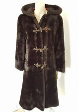 "Vintage 1960s 70s ""English Lady"" Faux Fur Hooded Hippy Boho Coat Size 8 - 10"