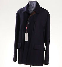 NWT $3295 LUCIANO BARBERA Navy Twill Wool-Cashmere Outer Coat 46 R (Eu 56) XL
