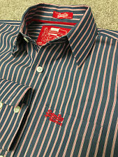 Splendido Superdry Bue Rosso BENGALA Stripe Shirt M Medium costo £ 75