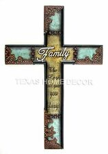 "Family Wall Cross Rustic Western Decor ""The Lord will guide you always"" 17 ½"""