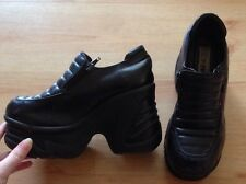 Retro 90s School Spice girl Platform Wedge Zip Black Shoes - Uk5 / Eu38 / Us7