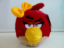 "New Angry Birds Plush Valentines Red Girl Yellow Bow Stuffed 6"" NWT"
