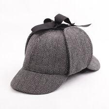 Unisex Flat Caps Sherlock Holmes Hat Deerstalker Tweed Cap Detective Earflap