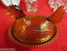 Gold Carnival Hen On Nest in Indiana by Indiana Glass Chicken Candy Dish 1950