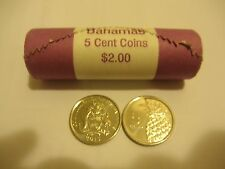 2015 Bahamas 5 Cent Coins Roll Coat of Arms & Pineapple Uncirculated