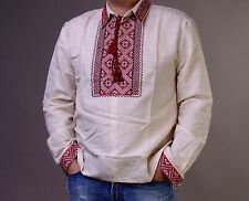 VYSHYVANKA Mens Ukrainian Embroidery Gray Homespun Cloth sz M EASTER GIFT