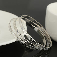 Child Vintage Bohemian Funky Silver Plated Hoops Wide Bangle Bracelet 3pcs/set