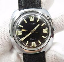 "TIMEX,1970's,Electric.""Round Black dial"",CLASSIC!  Leather MEN'S WATCH,740"
