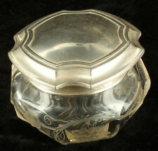 Antique Late Victorian Simons Brothers Sterling Silver Cut Glass Lg Vanity Jar