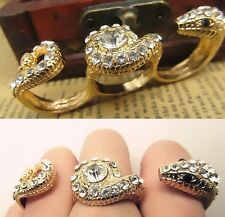 New Gold Clear White Crystal Snake Three Finger Ring Size 7.5 8 7.75 Adjustable