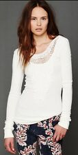 Free People Jack Of All Trades Crochet Neck Long Sleeve Thermal Top S