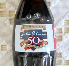 1996 Coca-Cola Collectible Bottle Dodgers Jackie Robinson 50th Anniversary Full