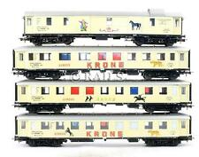 LIMA 'HO' RAKE OF 3 CUSTOM FINISHED 'KRONE' CIRCUS PASSENGER CARS + BAGGAGE CAR