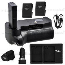Battery Grip for Nikon D3100 D3200 D3300 +2x EN-EL14 Battery +AC/DC Dual Charger