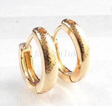 Unisex Women Men Huggie Hoop Earrings18K Gold Plated Small Vintage Pattern Pair