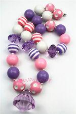 Pink&Purple Beads Chunky kids necklace&Bracelet Set girs necklace for kidsCB273