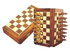 "10 "" Isle of Lewis Wooden Magnetic Travel Chess Set Golden Rosewood HouseofChess"