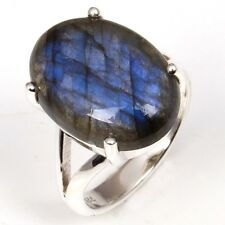 Genuine LABRADORITE Gemstone 925 Sterling Silver Fine Ring Size US 7.5 seller
