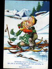 LES MOSSES (SUISSE) ACCIDENT de SKI illustré par MINOUVIS en 1956