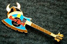 HRC Hard Rock Cafe Stockholm Flag Colored Kiss Axe Bass Viking Helmet LE
