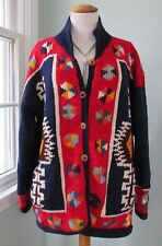 Hand Knit Ecuador Chunky 100% Wool Cardigan Sweater Women XL Colorful Ethnic