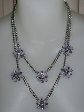 NWT Ann Taylor LOFT Lilac Moonstone Crystal Flower Cluster Statement Necklace