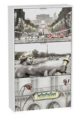 Zapatero moderno 3 puertas abatibles serigrafiado Paris 126,8x75cm