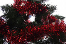 Christmas Holiday Xmas Red Silver Diecut Tree Decoration Garland 9 ft NEW