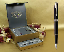 Parker Sonnet Fountain Pen - Black Lacquer Chrome Trim Gift Set