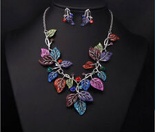 Fashion Jewlery Set Colorful Enamel Multi Leaf Branch Choker Necklace Earring