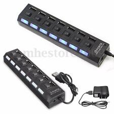 7 Port USB 2.0 Hub + AC Power Adapter LED ON/OFF Switch Plug For PC Laptop MAC