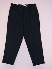 C-162 LADIES VINTAGE 80s AUSSIE MADE CEIGER GREEN BLUE TARTAN PANTS SZ 14