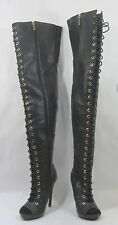"""Blacks 5.5""""high heel open toe front lace up sexy over the knee boots Size  6"""
