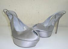 sandali donna sergio rossi firmata 37 in raso grigio plateau  sandals