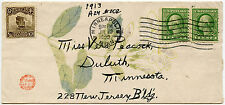 USA 1922 CHINA ENVELOPE FLOWERS + HANDSTAMP USED MINNEAPOLIS