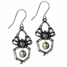 NWT Glistercreep Spider Exoskeleton Faux Pearl Drop Earrings Alchemy Gothic E397